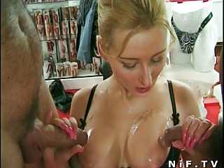 French Milf Anal Fucked In Threesome In A Sexshop | Threesome.top Porn Tube