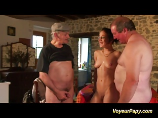 Erotic Brunette Sucking Papy And His Friend Cock Hard | Threesome.top Porn Tube