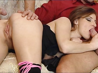 Lingerie Slut In Stockings Threesome – Anal & Facial