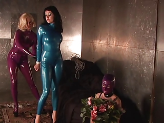 Slut In Blue Latex Suit Gagged And Bound | Threesome.top Porn Tube
