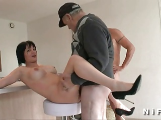 Busty French Mom Banged And Jizzed In 3some With Papy Voyeur