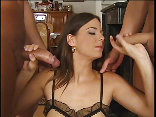 Hot Brunette Banged By 2 Lucky Cocks
