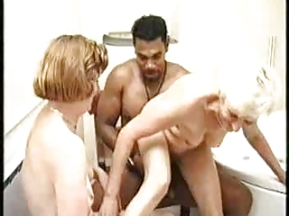 Granny And Black Guy In The Bath Joined By A Milf   Threesome.top Porn Tube