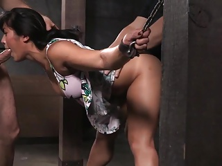 Shackled Asian Slut's Pussy And Mouth Used | Threesome.top Porn Tube