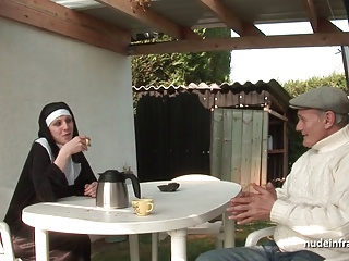 Young French Nun Sodomized In Threesome With Papy Voyeur | Threesome.top Porn Tube