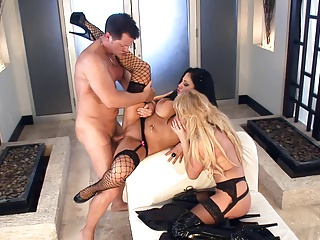 Busty Babe Threeway In Thigh High Fishnet Lingerie | Threesome.top Porn Tube