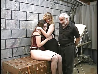 Two Cute Basement Bdsm Lesbians Make Out And Get Roped Up By Master Len