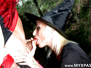 The Nasty Witch Fucked By Two Guys In The Woods | Threesome.top Porn Tube