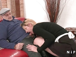 French Maid Hard Fucked In 3some With Papy | Threesome.top Porn Tube
