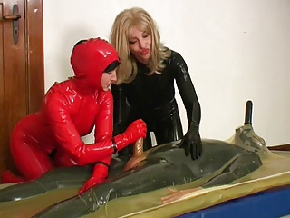 2 Horny Wives Rubber + A Guy With 2 Cocks